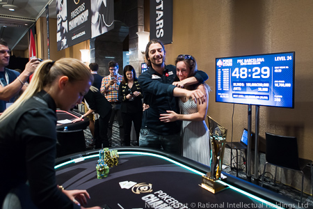 Kurganov and Liv Boeree celebrating