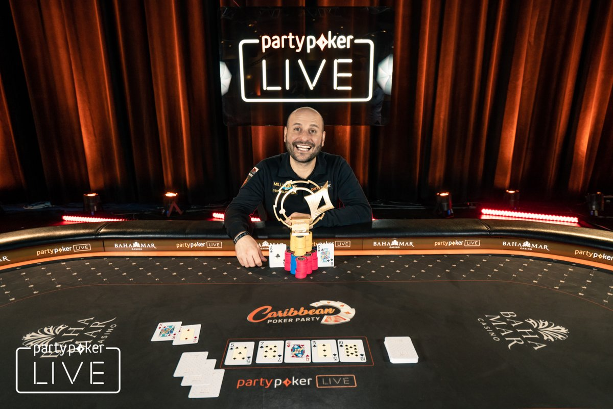 partypoker's Caribbean Poker Party $10,300 High Roller event won by Roberto Romanello for $450,000