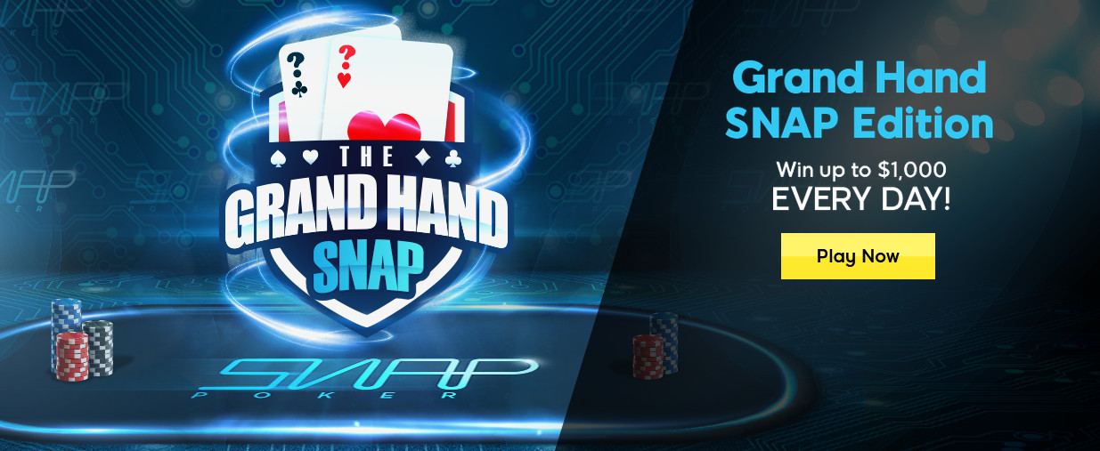 888poker Latest Promo - Grand Hand Snap Edition, Win up to $1,000 Every Day