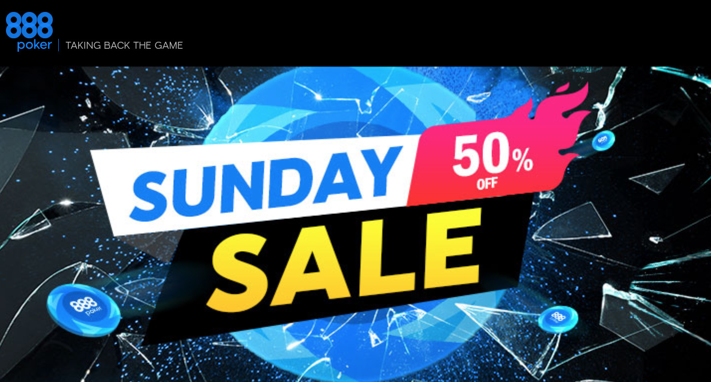Up to 50% off on the buy-ins of 888poker's BIGGEST Sunday tournaments!