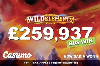 Lucky UK Gambler wins £260,000 from just a £4 Bet on Wild Elements Slot at Casumo