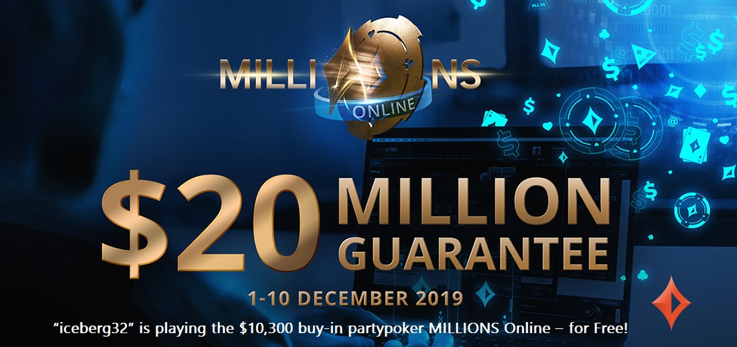 """iceberg32"" is playing the $10,300 buy-in partypoker MILLIONS Online - for Free!"