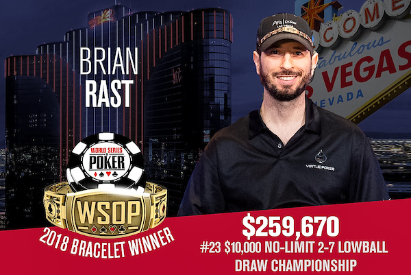 Brian Rast Wins His 4th Bracelet In The 2018 WSOP Event 23 10000 Buy No Limit Lowball Draw Championship As He Became Final Winner Out Of 95 Player