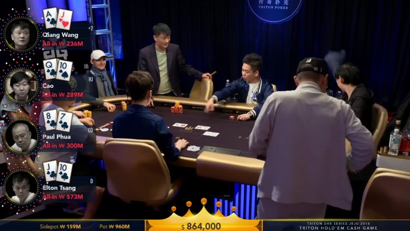 Incredible 4-Way All-in Swing at Triton Hold�em Cash Game