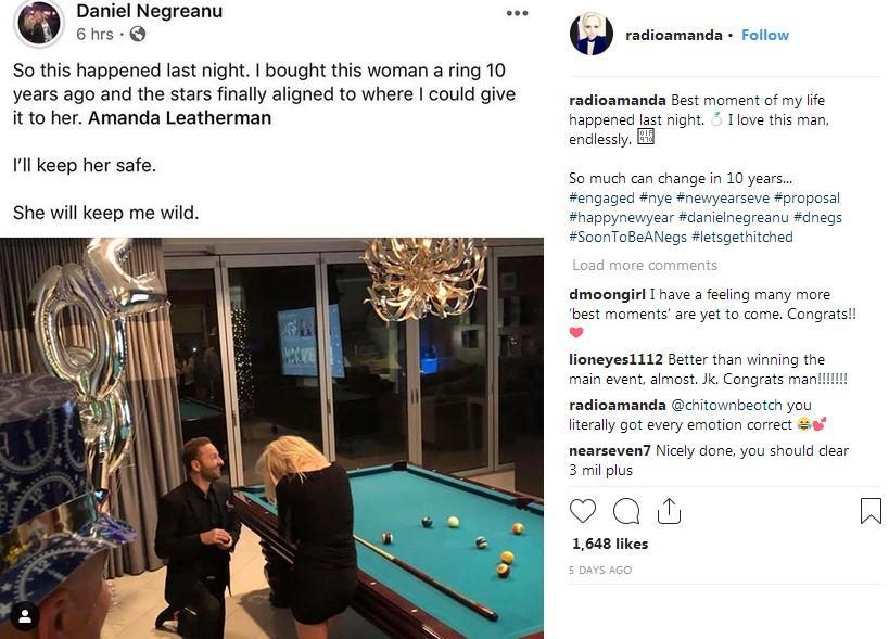 Daniel Negreanu got engaged to Poker Host Amanda