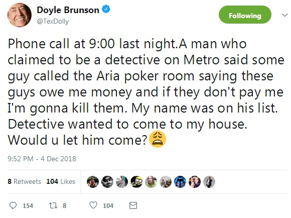Doyle Brunson gets Strange Call from Detective about Owing Money at Poker Room