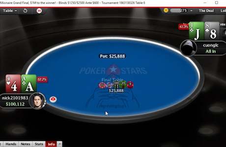 "PokerStars makes ""nick2101983"" their most recent millionaire"