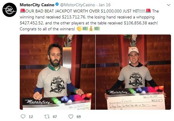 Motor City Bad Beat >> Record Breaking Bad Beat Poker Jackpot Won At Detroit Casino