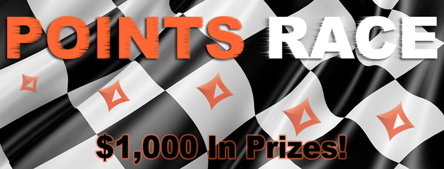 partypoker leaderboard and points race, by BankrollMob